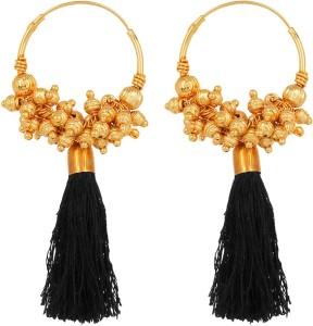 GoldNera Golden Black Fusion With Trendy Tassel Amalgamation of Ethnic and Fashion Earrings For Women Girls Hollywood Alloy Tassel Earring
