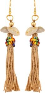 GoldNera Jute String Tassel Classic Bohemian Designer Tribal Casual Daily Wear Earrings Fashion Jewelry Women Girls Alloy Tassel Earring