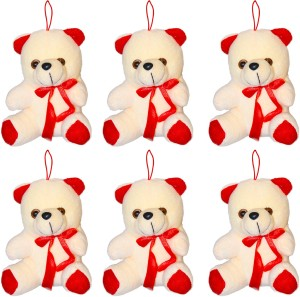AKSHAT HANGING TEDDY SO SOFT SET OF 6 (Multicolor)  - 12 cm