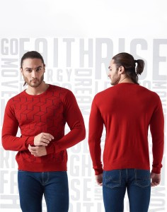 37f388fa1942 Metronaut Printed Round Neck Casual Men s Red Sweater Best Price in ...