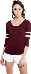 The Dry State Solid Women's Round Neck Black T-Shirt