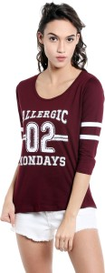 The Dry State Printed Women's Round Neck Maroon T-Shirt