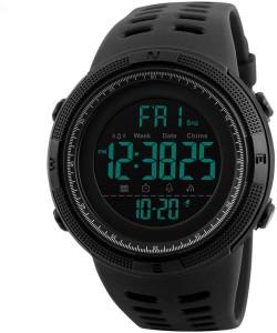 Skmei Digital Multi-functional Full Screen Black Sports Watch  - For Men