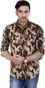 BASE 41 Men's Military Camouflage Casual Beige Shirt