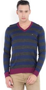 Arrow Sport Striped V-neck Casual Men's Blue, Grey Sweater