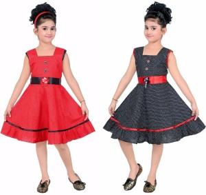 ULTRA TREND Girls Midi/Knee Length Casual Dress