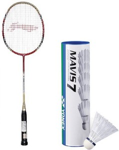 Li-Ning Combo Of Two- 'One 'G-Force Pro 2200i' Badminton racket and One Box 'Mavis 7' shuttle Cock (Pack Of 6) G4 Strung
