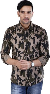 BASE 41 Men's Military Camouflage Casual Green Shirt
