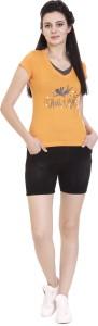 Goldstroms Printed Women V-neck Orange T-Shirt