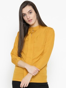 U&F Casual 3/4th Sleeve Solid Women Gold Top