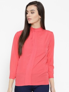 U&F Casual 3/4th Sleeve Solid Women Pink Top