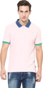 Realm Solid Men's Polo Neck Pink T-Shirt