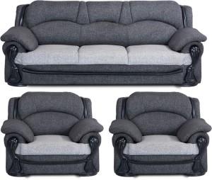 Bharat Lifestyle China Gate Fabric 3 + 1 + 1 Dark Grey Light Grey Sofa Set