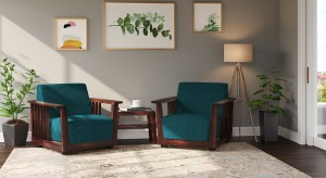 Urban Ladder Serra Wooden Fabric 1 1 Mahogany Sofa Set