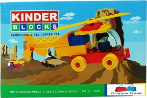 GRAPPLE DEALS Kinder Blocks Aeroplane And Helicopter Set - Interlocking Architectural Set For Kids.(Multicolor)