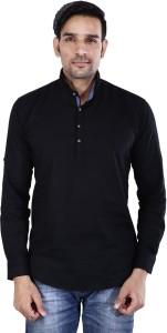 BASE 41 Men's Solid Casual Black Shirt