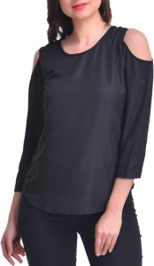 Stop Look Casual 3/4th Sleeve Solid Women's Black Top