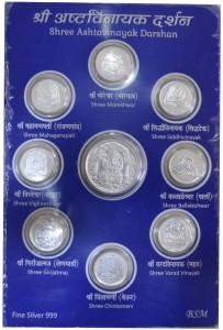 Kataria Jewellers Ashtvinayak Darshan S 999 15 g Silver Coin
