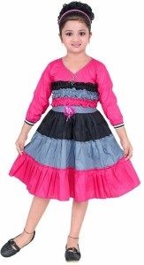 BAHUBALI Girls Midi/Knee Length Casual Dress
