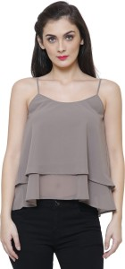 THE RUNNER Party Shoulder Strap Solid Women Grey Top