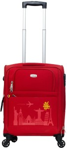 TIMUS Salsa Red 55 CM 4 Wheel Strolley Suitcase For Travel ( Cabin Luggage) Expandable  Cabin Luggage - 20 inch