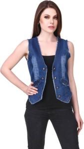 BuyNewTrend Sleeveless Embroidered Women's Denim Jacket