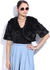 Forever New Half Sleeve Solid Women's FurFaux Jacket Jacket