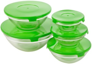 SMART SKILL - HOME UTILITY - GLASSWARE - MIX MULTICOLOR MULTIPURPOSE GLASS CONTAINERS / BOWL WITH LID PACK OF 5 BOWLS Glass Bowl Set