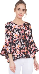 Arv Fashion Casual Bell Sleeve Floral Print Women's Black Top