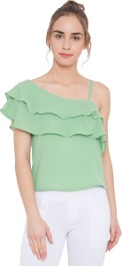 ARV Fashion Party Short Sleeve Solid Women Green Top
