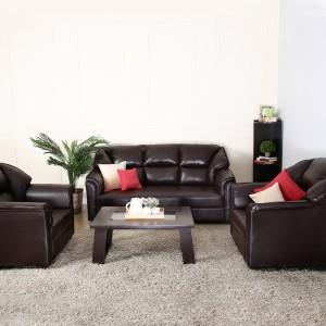 Westido Manhattan Leatherette 3 1 1 Brown Sofa Set