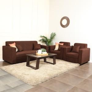 Westido Amrind Fabric 3 + 1 + 1 Brown Sofa Set