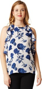 Miss Chase Casual Sleeveless Printed Women's Multicolor Top