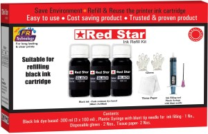 Red Star ink refill for HP 21,27,46,678,680,802,803,818,703,704,901 black cartridge Single Color Ink