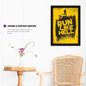 Workout Posters For Gym Inspiration - Framed Motivational Quotes - Run Like  Hell - Framed Photographic Paper19 inch X 13 inch, FRAMED