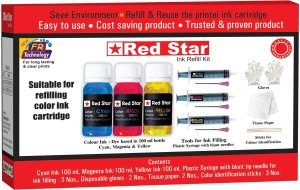 Red Star ink refill for hp 22,28,46,678,680,703,704,802,803,818,868,901 color cartridge Multi Color Ink
