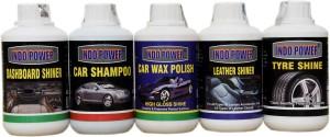 INDOPOWER CAR WAX POLISH,DASHBOARD ,LEATHER,TYRE,+ CAR WASH SHAMPOO COMBO OFFER 2018 Vehicle Interior Cleaner