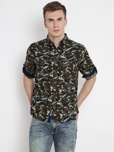 Rodid Men's Military Camouflage Casual Green Shirt