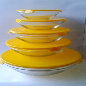 SMART SKILL  - HOME UTILITY - GLASSWARE - YELLOW MULTIPURPOSE GLASS CONTAINERS / BOWL WITH LID PACK OF 5 BOWLS  Glass Bowl Set