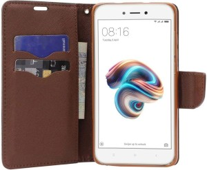 reputable site 28f68 d7cbf Unistuff Flip Cover for Mi Redmi 5ABrown, Artificial Leather