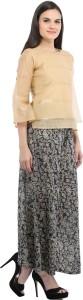 Cottinfab Casual 3/4th Sleeve Self Design Women Beige Top