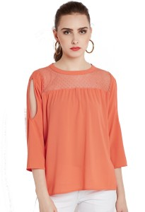 Rare Casual 3/4th Sleeve Solid Women Orange Top