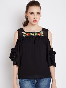 Rare Casual 3/4th Sleeve Solid Women Black Top