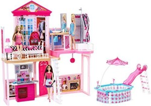 Generic Barbie Dream House Pool Gift Set With Three Dolls 31 Inches Tallmulticolor