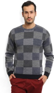 United Colors of Benetton. Self Design Crew Neck Casual Men's Grey Sweater