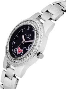 f57e7b44286 Lugano LG 2046 Gem Studded with Black Heart Dial Watch For Women ...