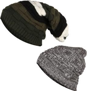 1cf4f6db639 Hupshy Beanie Woolen Cap ( Pack of 2 )