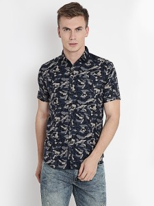 Rodid Men's Military Camouflage Casual Blue Shirt