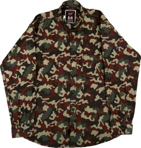 BASE 41 Boys Military Camouflage Casual Green Shirt