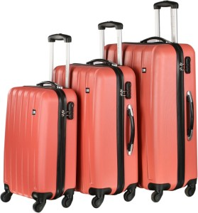 Nasher Miles Zurich Pink Abs Hard Luggage Set Of 3 Trolley/Travel/Tourist Bags (55, 65 & 75 Cm) Check-in Luggage - 28 inch